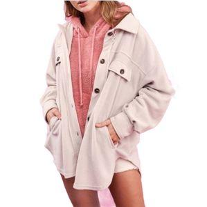 Beige soft fleece button up shirt jacket